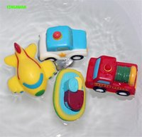 Wholesale 4pcs Cute Squirters for the Tub Floating Vehicle Water Toy Baby Bath Squeeze Sound Train Car Ship Plane Water absorbing