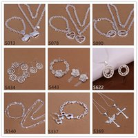 Wholesale 6 sets mixed style women s sterling silver jewelry sets fashion silver Necklace Bracelet Earring Ring jewelry set GTS66