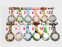 Wholesale 2016 Silicone Nurse Pocket Watch Candy Colors Zebra Leopard Prints Soft band brooch Nurse Watch patterns