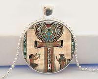 ankh cross jewelry - Cross Necklace Ankh Necklace Egyptian Necklace Glass Tile Jewelry Egytian Jewelry