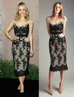Wholesale Cheap Tea Length Black Lace Red Carpet Evening Gowns Rachel McAdams Off Shoulder Sheath Nude Chiffon Celebrity Dresses