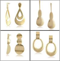 alloy sheet metal - New Geometric Exaggerated Metal Sheet Earrings Fashion Women Dangle Chandelier Stud Earrings Cheap Jewelry