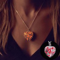 alloy sweaters - 2016 Newest Fashion Women Luminous Hollow out Pendant Glow In The Dark Necklace fashion sweater locket necklace