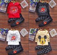 american spiders - 2016 Fashion Boys Sets with Spider Man and Mickey Mouse European and American Style Children Coat Trousers MC0023