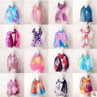 Wholesale New Style Scarf Sarongs Brisk Butterfly Pattern Scarves Chiffon Printed Scarfs Colors styles