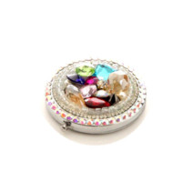 Wholesale 10 Colored Gem Make Up Mirror Stainless Steel Frame Double Sided Enlarg Compact Mini Mirror
