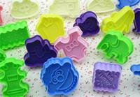 FDA Cookie Moulds Plastic Baking Turn Sugar Cake Biscuit Mould 3D Car Traffic Tool Series Turn Sugar Cookie Mould Flower Print