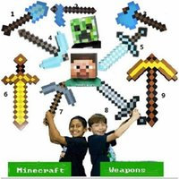 Wholesale Optional collocation Newest Design Game Toy Diamond Sword Minecraft Foam Mosaic Sword Pickaxe Hamaxe