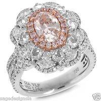 Cheap 3.52TCW Oval Cut VS2 Natural Very Light Pink Diamond GIA 18K White Gold Ring