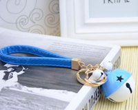 bell jelly - Lady handbags jelly bell hanging on the rope Car candy color leather rope key hang hang Christmas gifts