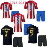 Wholesale DHL Thai Qualit Atletico Madrid Jersey kits socks Home red Away black uniform sets GRIEZMANN F TORRES JACKSONM KOKE shi