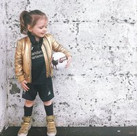 baby biker jacket - 2016 fashion girls kids baby leather blazers suits slim metallic gold biker jacket moto children outerwear coats