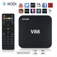 al por mayor televisión lector de xbmc-V88 Android 5.1 TV Caja Rockchip RK3229 Kodi 16 1G + 8G H.265 Reproductor Multimedia XBMC M8S más barato Amlogic S905 S905X S912