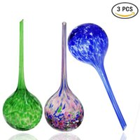 aqua bulbs - Set of Mixed Color Hand Blown Glass Flower Globe Watering Bulb Aqua Globe Small Handcraft Glass Plant Watering Globes