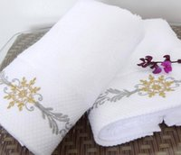 bath towels embroidered - SPA club cotton towel elegant color embroider face towel g thickness style white towel