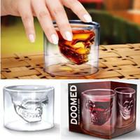 Wholesale New Crystal Skull Cup Skull Head Vodka Whiskey Shot Glass Pirate Vaccum Glasses Beer Mug Drinking Ware ml Free DHL TNT