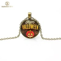antique glass jewelry - 2016 New D halloween charm pendant neckalce jewelry jewellery halloween antique silver bronze skull pumpkin