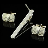 Wholesale Men Metal Necktie Tie Bar Clasp Clip Cufflinks Set Silver Simple Party Gift C00192 CAD