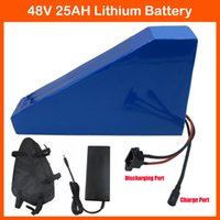 Wholesale 1000W W V Electric Bike Battery AH triangle Lithium ion battery with Free bag PVC Case A BMS V A charger