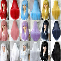Wholesale 3 Harajuku Cosplay Wigs Women Fashion cm Long Costume Wigs Synthetic Hair Wigs for Halloween Christmas Party