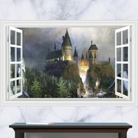 Wholesale 3D Generic Windows Harry Potter Magic Castle Struggle Wall Decal Decor Sticker kindergarten living room vinyl Inspiration art