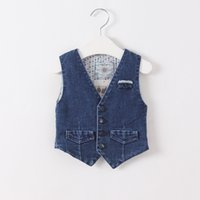 baby boy jean vest - 2016 Baby boys and Girls wash Blue Denim Vests Kids Fashion Jean V neck Waistcoat Babies Autumn Christmas Outwear children s clothing