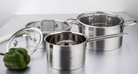 Wholesale 6PCS Faimly Cookware Set Tirclad Bottom Quality Stainless Steel Set Stock Pan Multi Pot Glass Cover Oven and Indution Suitable