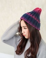 Wholesale The New Women s Fashion Winter Warm Wool Hat Flexibility Knitted Hat Gradient Color Two Color MZ1608A02