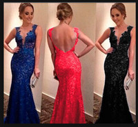 Wholesale Hot Sale Sexy Lined Long Lace Evening Dress gowns women vintage elegant V neck Prom Dresses Formal backless Evening Gown