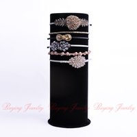 big band stands - 2014 Top Luxury Black Velvet Big T Bar Jewelry Head Band Display Stand Organizer Cylindrical Jewelry Display Showcase Holder