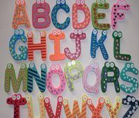 baby refrigerator magnets - 26pcs set Children Kids English Alphabet Refrigerator Magnets Big Anti Rust Thickened Baby Wooden Fridge Magnet Magnetic Sticker