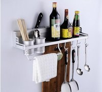 beverage flavours - Wall Mounted Multifunctional kitchen Rack Shelf with hooks cm two cups aluminum kitchen storage rack knife fork flavouring organizer