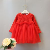 Wholesale Long Sleeve Softtextile Baby Girls Party Wear Dress Beautiful Princess Lace Girl Dress Rabbit Fur Girl Dress