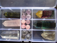 Wholesale 350G Rutilated Fluorite Labradorite Quartz Crystal Wand Point And Ball Healing