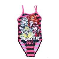 Cheap Girls Swimwear Monster Bikini Swimsuit Kids Ruffled Swimming Suit For Girl Children Bathing Suit Maillot De Bain One Piece