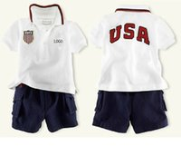 kids sweat suits - cheap polo kids summer fashion baby boys girls cotton short sleeved t shirt Shorts set letters USA sweat suit Childrens Clothing Sets