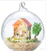 architectural furniture - New arrived DIY cabin mini glass ball sweet gift hand assembled Sweet Xinyu creative architectural models with LED light