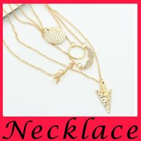 arrow jewellery - Fashion Golden Cupid Arrow Angel Wings Crystal sweater necklace party statement necklaces for women gold chains necklace charms jewellery