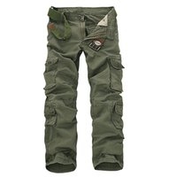 baggy combat trousers - 4 Color New Arrival Mens Fashion Military Multi Pocket Cargo Pants Casual Straight Long Baggy Combat Trousers Large Size
