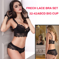 big lingerie - 32 B C D Big Cup French Lace Bra Panties Set Thin Cup Bombshell Underwear Set Sexy Lingerie Set Intimates L145