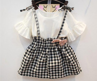 Wholesale New Fashion Korean Children Summer dress Baby Girls Flare short sleeve Plaid Sweet Elegant Princess party Dresses one piece dresses