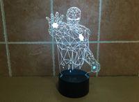 Wholesale Nordic wood Iron Man D stereoscopic visual light Acrylic lamp LED light beech creative D decorative lamp