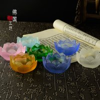 Wholesale 2 Inch Colorful Liuli Lotus Bowl Candle Holder Buddhist Supplies Candlestick Holder