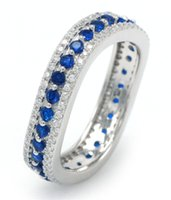 best eternity rings - Special Offer Sterling Silver Full Eternity Gemstone Ring Romantic Blue Spinel Stone for Women Best Valentine s Day gift DL07720A