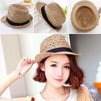 Wholesale New Arrivals Women s Lady s Trilby Fedora Straw Hats Wide Brim Caps Sunshade Tan With Black Headband Breathable Summer GA462 Free