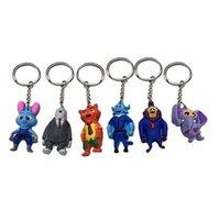 Wholesale 2016 new hot sale cm Cartoon Movie Zootopia Judy rabbit Nick Fox Cartoon Key Ring Key Chain Figures Gift Toys