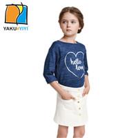 basic shirts kids - Print Letter Blue T shirt Long Sleeve Crew Neck Shirt Autumn Sweet Preppy Style Basic OutWear Kid Wear YAKUYIYI