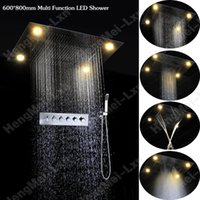 best selling shower heads - Best sell in multi function embeded ceiling mounted led top shower head rainfall waterfall water curtain misty