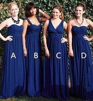 Reference Images beach style bridesmaid dresses - Navy Blue Chiffon Bridesmaid Dresses Convertible Styles Sexy Backless Summer Beach Garden Wedding Party Gowns Long Formal Evening Dresses