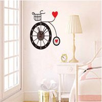 bicycle wall clock - Top Selling Red Love Hearts Bicycle DIY D Wall Clock Parede For Home Living Room Bedroom Kids Rooms Wall Decals Sticker
